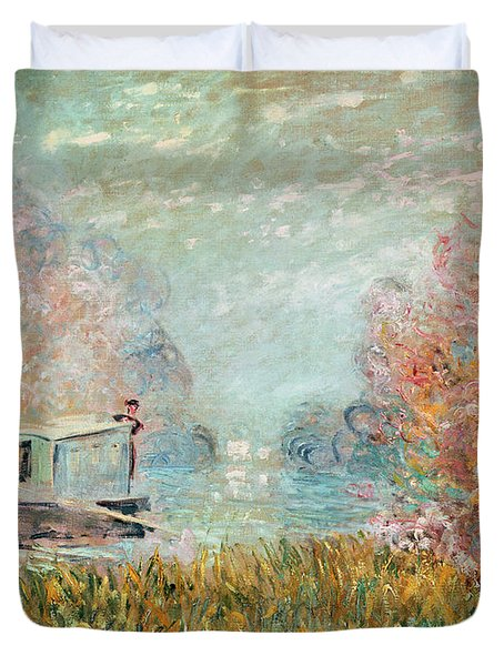 The Boat Studio On The Seine Duvet Cover by Claude Monet