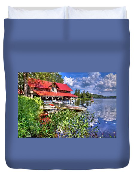 Duvet Cover featuring the photograph The Boathouse At Covewood by David Patterson