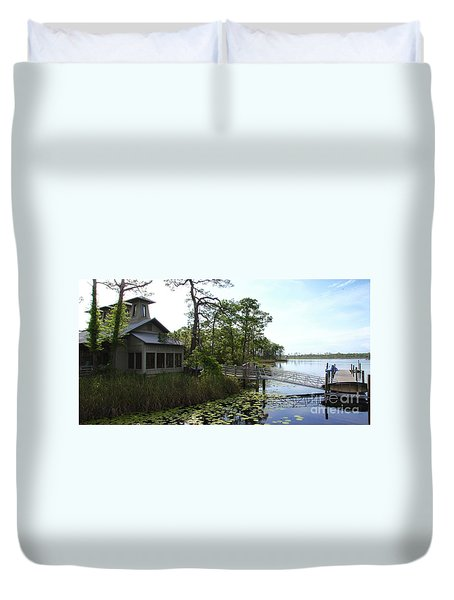 The Boathouse At Watercolor Duvet Cover
