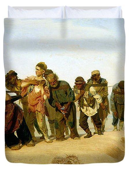 The Boatmen On The Volga Duvet Cover by Ilya Efimovich Repin
