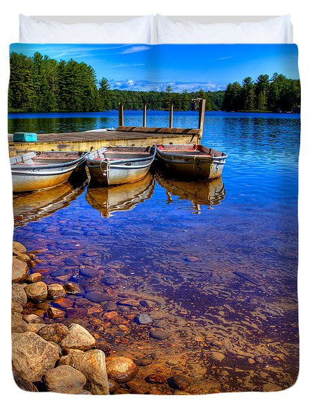 The Boats On White Lake Duvet Cover