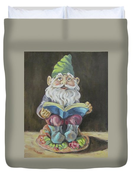 The Book Gnome Duvet Cover by Cheryl Pass