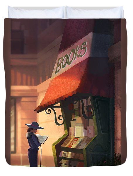 The Bookstore Duvet Cover by Kristina Vardazaryan