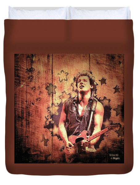 Duvet Cover featuring the photograph The Boss 1985 by Paula Ayers