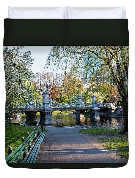 The Boston Public Garden In The Spring Boston Ma Duvet Cover