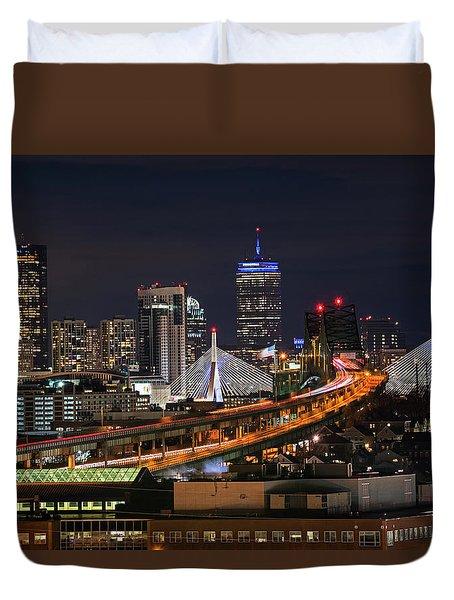 The Boston Skyline Boston Ma Full Zakim Duvet Cover