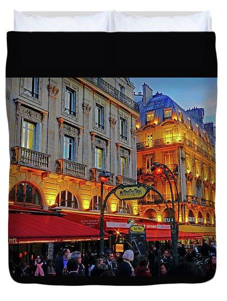 The Boulevard Saint Michel At Dusk In Paris, France Duvet Cover by Richard Rosenshein