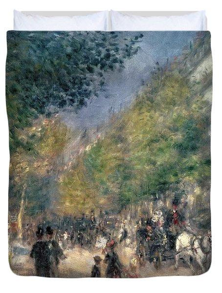 The Boulevards  Duvet Cover by Pierre Auguste Renoir