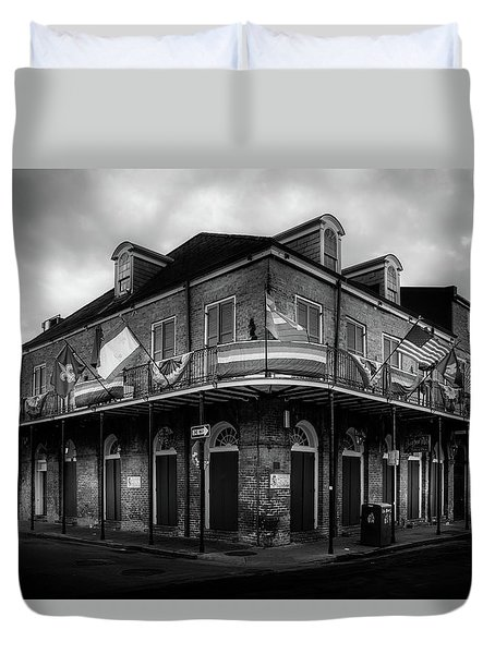 The Bourbon Pub In Black And White Duvet Cover