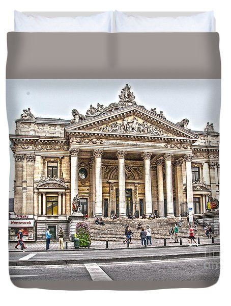 Duvet Cover featuring the photograph The Bourse In Brussels by Pravine Chester