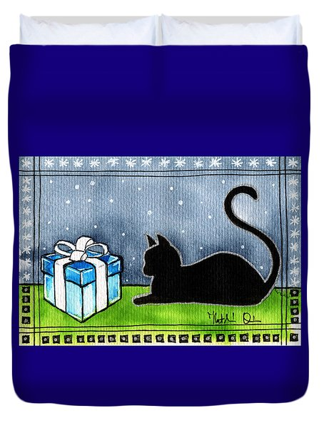The Box Is Mine - Christmas Cat Duvet Cover