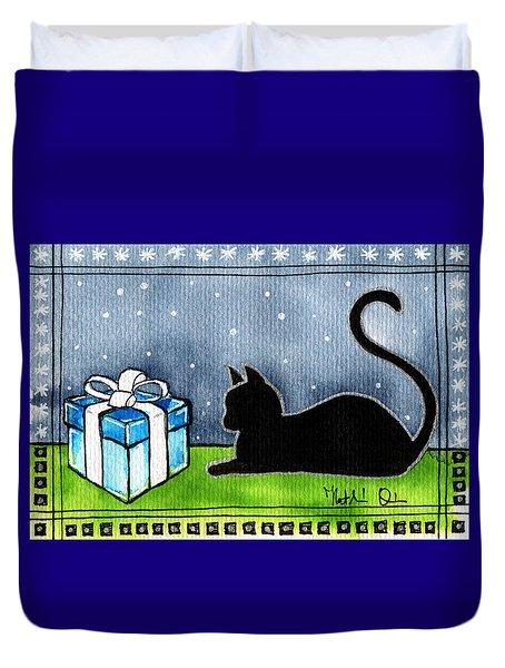 The Box Is Mine - Christmas Cat Duvet Cover