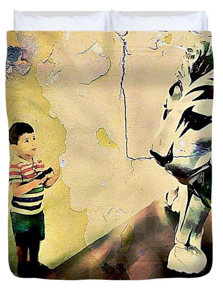 The Boy And The Lion Graffiti Creator,street-art Graffiti,street-art,graffiti Art Street,banksy Art, Duvet Cover