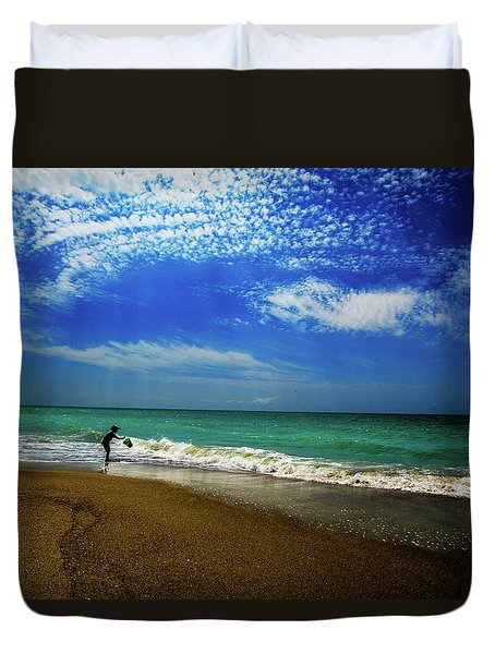 Duvet Cover featuring the photograph The Boy At The Beach  by John Harding