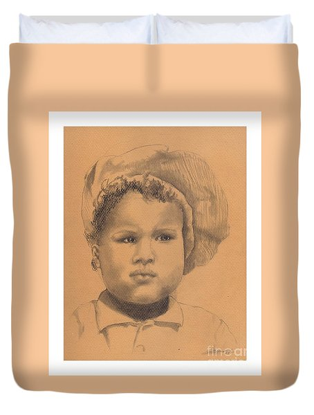 The Boy Who Hated Cheerios -- Portrait Of African-american Child Duvet Cover