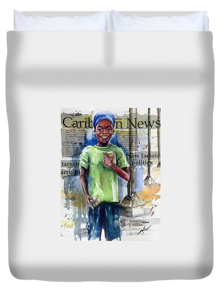 The Boy Who Sells Peanuts Duvet Cover