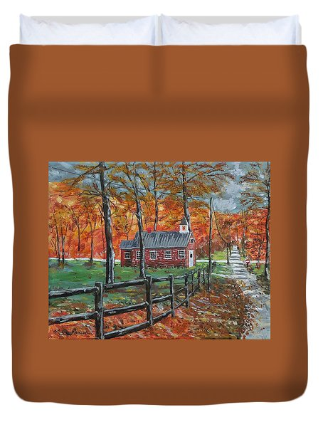 The Brick Country Schoolhouse Duvet Cover by Mike Caitham