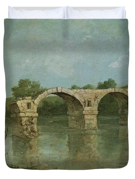 The Bridge At Ambrussum Duvet Cover by Gustave Courbet