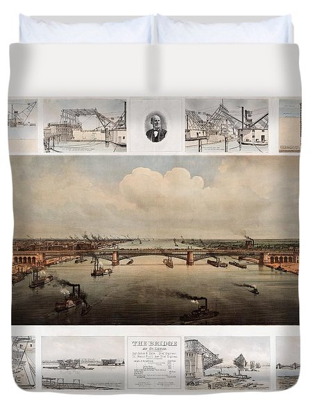 The Bridge At St. Louis, Missouri, Ca. 1874 Duvet Cover