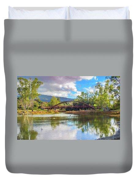 The Bridge At Vasona Lake Digital Art Duvet Cover