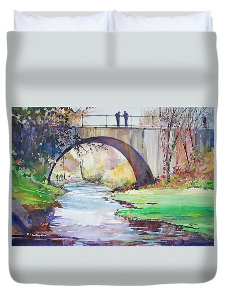 The Bridge Over Brewster Garden Duvet Cover