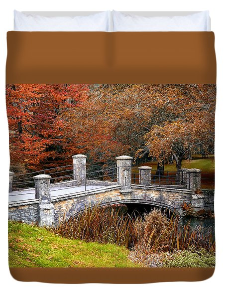 The Bridge To Autumn By Mike Hope Duvet Cover