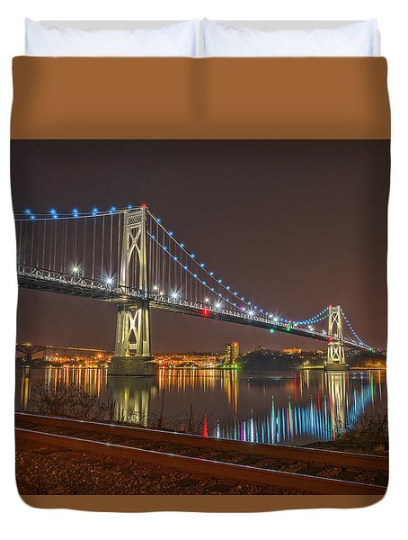 The Bridge With Blue Holiday Lights Duvet Cover