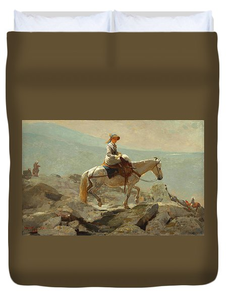 Duvet Cover featuring the painting The Bridle Path, White Mountains - 1868 by Winslow Homer