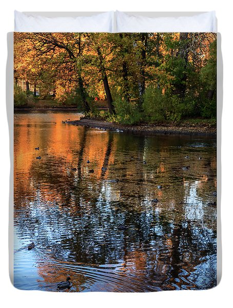 The Bright Colors Of Autumn, Quiet Evenings Are Reflected In The Waters Of The City Pond Duvet Cover
