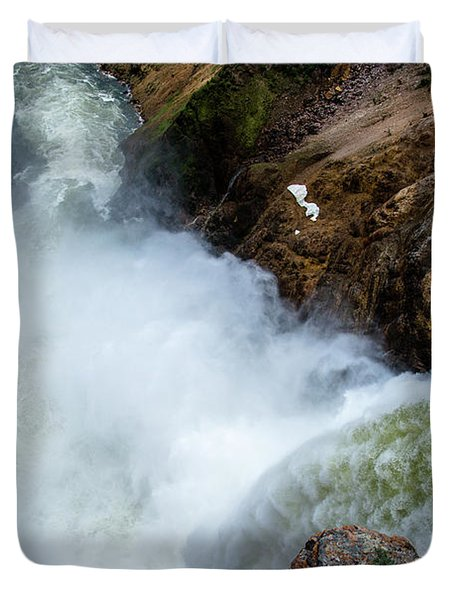 The Brink Of The Lower Falls Of The Yellowstone River Duvet Cover