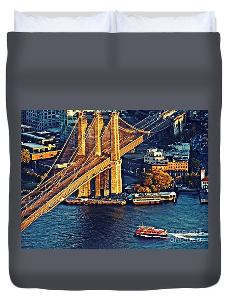 Duvet Cover featuring the photograph The Brooklyn Bridge At Sunset   by Sarah Loft