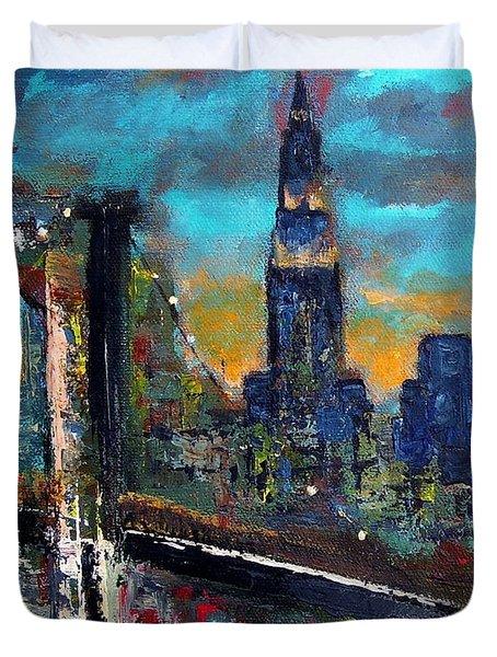The Brooklyn Bridge Duvet Cover by Frances Marino
