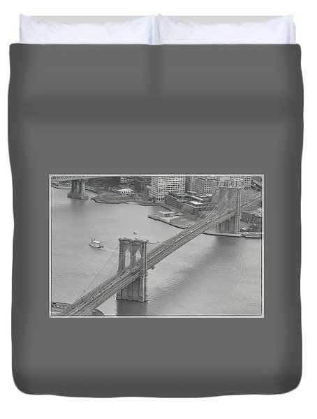 The Brooklyn Bridge From Above Duvet Cover