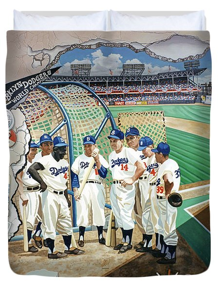 The Brooklyn Dodgers In Ebbets Field Duvet Cover