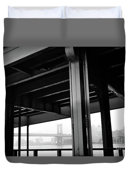 The Brooklyng Bridge And Manhattan Bridge From Fdr Drive Duvet Cover