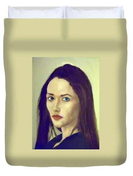 The Brunette With Blue Eyes Duvet Cover