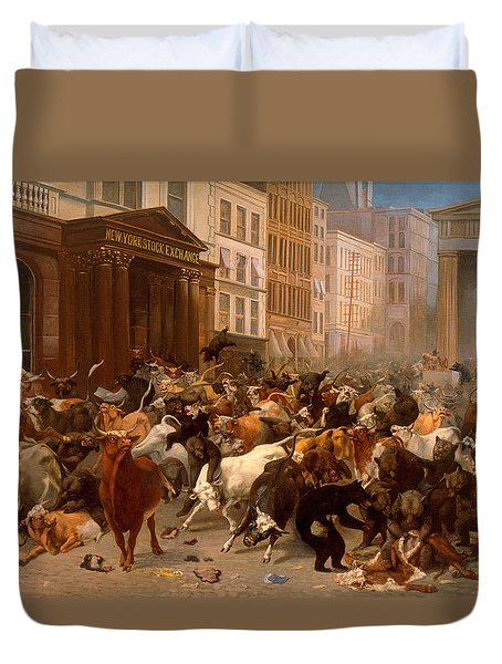 The Bulls And Bears In The Market Duvet Cover