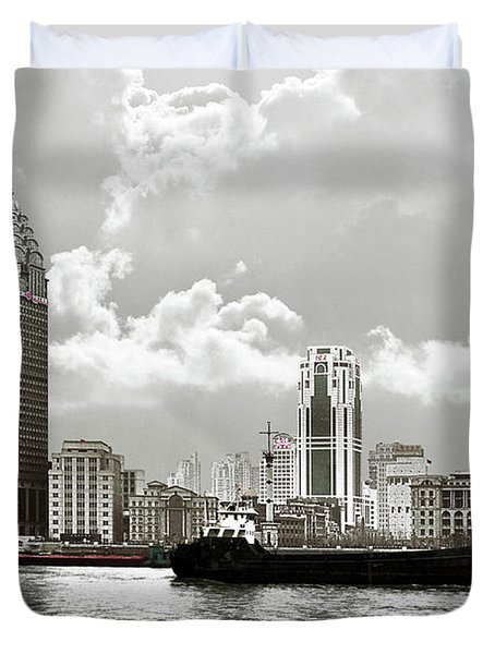 The Bund - Old Shanghai China - A Museum Of International Architecture Duvet Cover by Christine Till