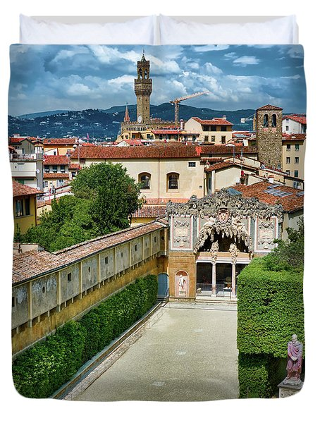 The Buontalenti Grotto From The Pitti Palace Duvet Cover