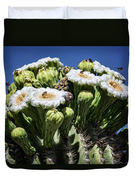 Duvet Cover featuring the photograph The Busy Little Bees On The Saguaro Blossoms  by Saija Lehtonen