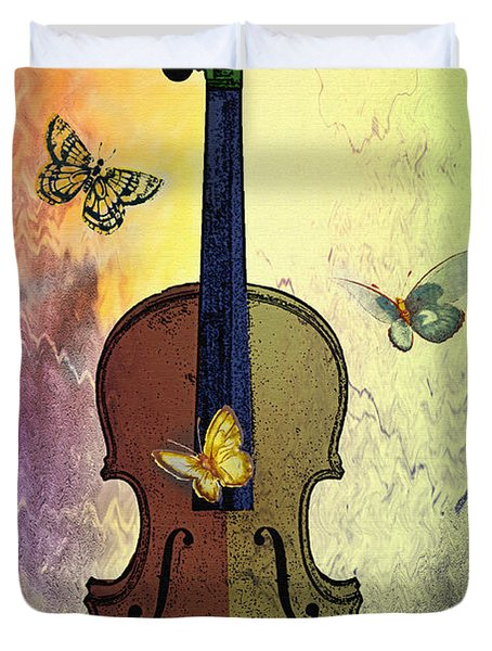 The Butterflies And The Violin Duvet Cover by Bill Cannon