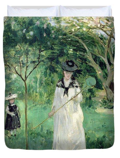 The Butterfly Hunt Duvet Cover by Berthe Morisot