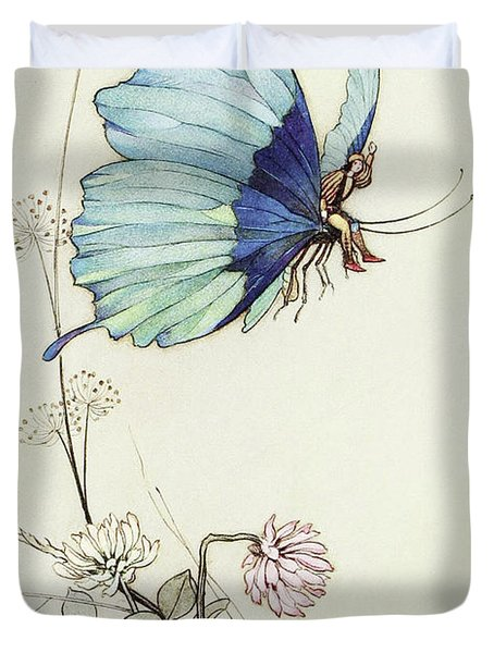The Butterfly Took Wing, And Mounted Into The Air With Little Tom Thumb On His Back Duvet Cover