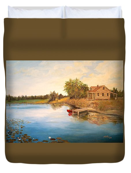 Duvet Cover featuring the painting The Cabin by Alan Lakin