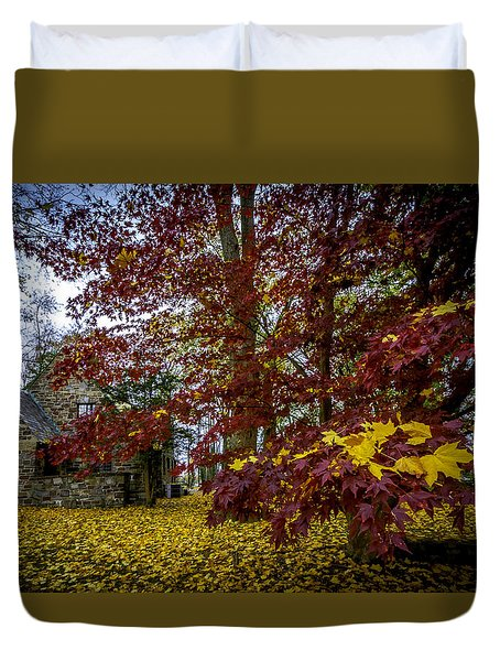 The Cabin In Autumn Duvet Cover