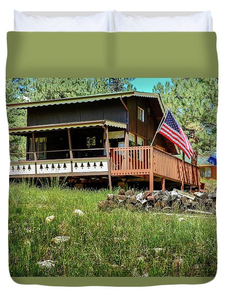 Duvet Cover featuring the photograph The Cabin by Ron White