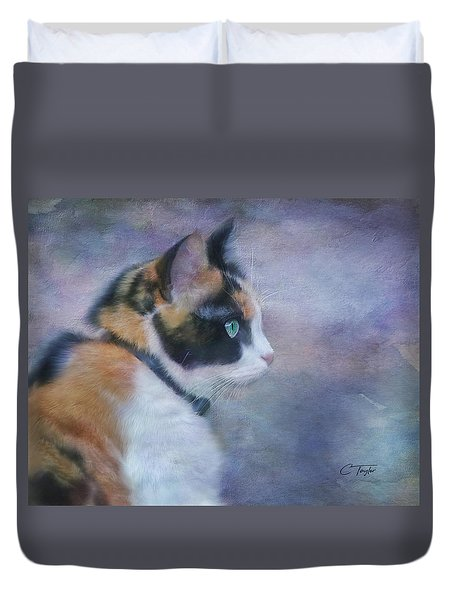 Duvet Cover featuring the digital art The Calico Staredown  by Colleen Taylor