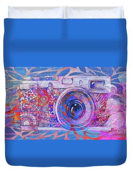 Duvet Cover featuring the digital art The Camera - 02c3t by Variance Collections