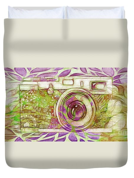 Duvet Cover featuring the digital art The Camera - 02c6t by Variance Collections