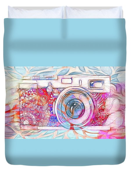Duvet Cover featuring the digital art The Camera - 02c8v2 by Variance Collections